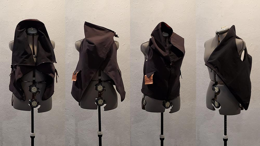 Four panel image. Each panel has a vest on a dressform with a copper fabric pocket sticking out. The last panel has the vest as a bag.